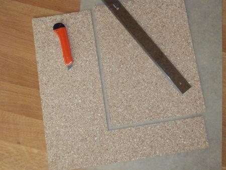 Plancha de corcho cortado
