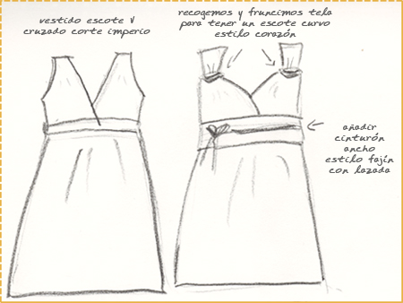 boceto de la idea de convertir un vestido escote v en corazón