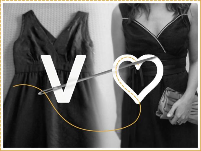vestido ecote v tranformado en escote corazón