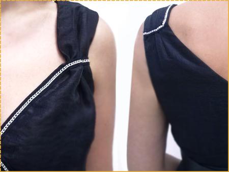 detalle de un vestido negro, escote y espalda